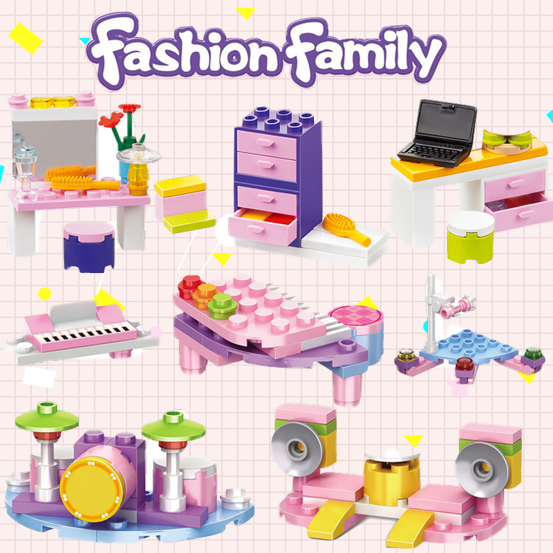 Legoing Friends Princess MOC Creator Furniture Dressing Mirror DIY Building Blocks Bricks Toys for Children Friends Girls Gifts