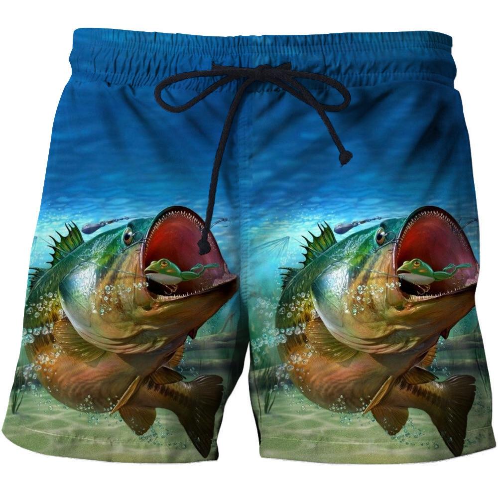 2020 New Summer Beach Shorts Fashion Men's Beachwear Cool Board Shorts Quick Dry 3D Print Fish Watersport Swim Trunks S-6XL
