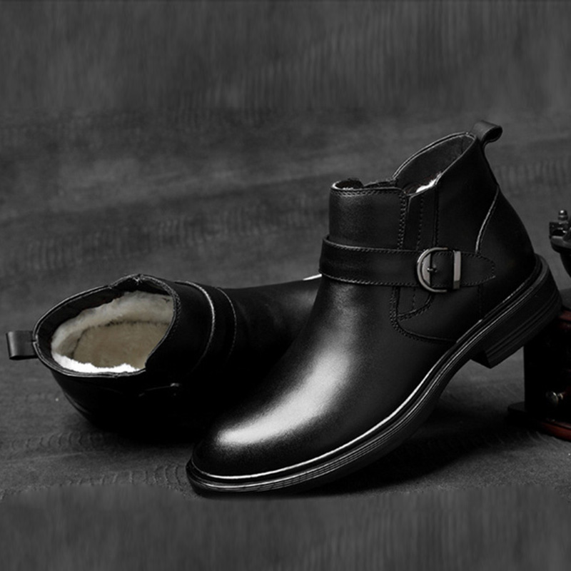 2019 г. Осенне зимняя обувь мужские ботинки обувь из натуральной кожи теплые плюшевые для холодной зимы мужские ботильоны обувь из коровьей к
