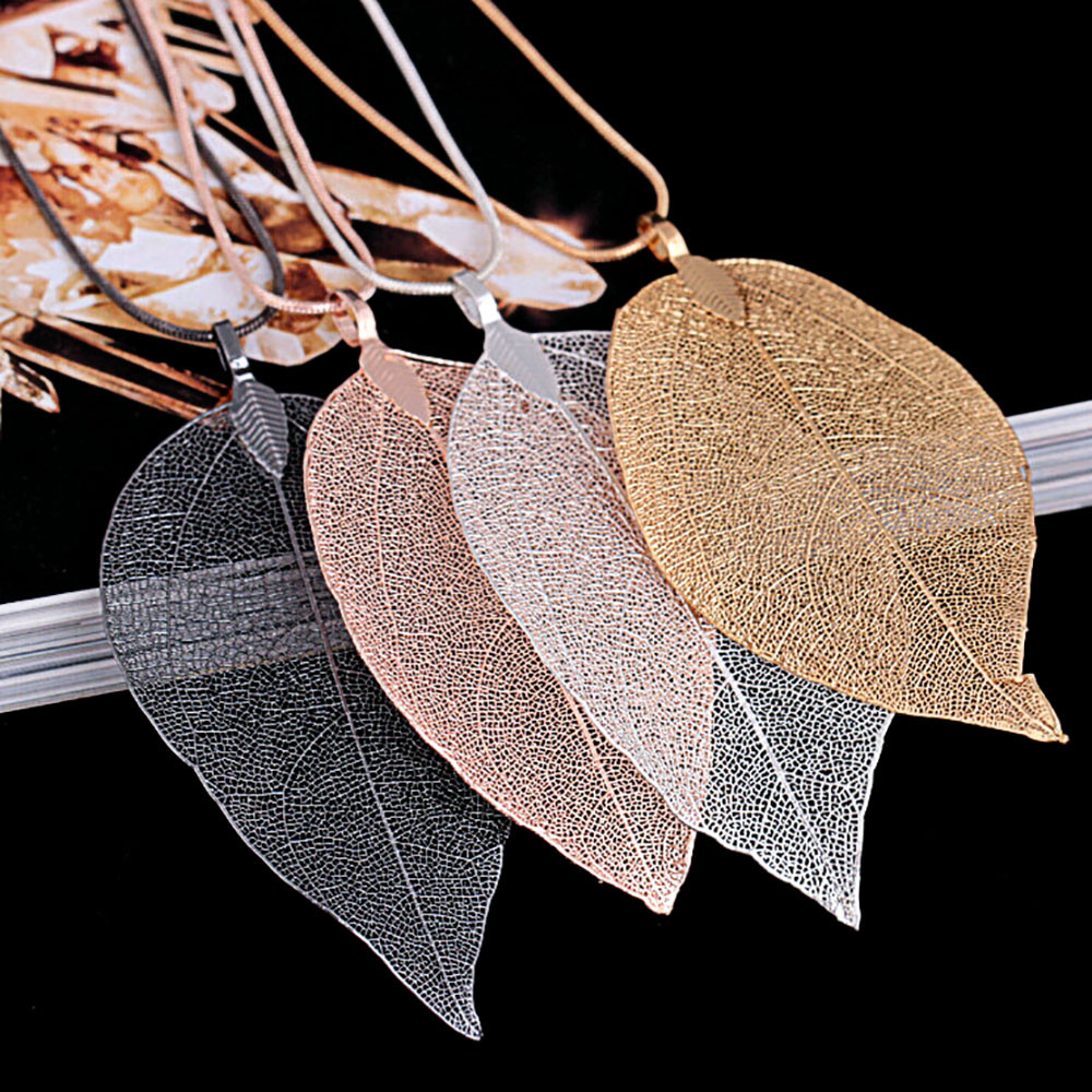 Women Necklace Stainless Steel Statement Fashion Leaves Leaf Sweater Pendant Necklace Ladies Long Chain Jewelry Gold Silver