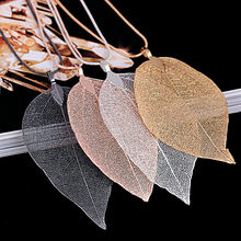 Women necklace stainless steel Statement Fashion Leaves Leaf Sweater Pendant Necklace Ladies Long Chain Jewelry Gold Silver(China)