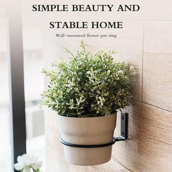 Wall Mount Flower Pot Ring Balcony Rack Iron Holder Hanging Planting Basin Shelf - discount item  30% OFF Outdoor Furniture