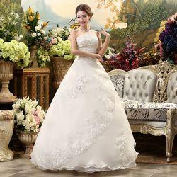 Luxe Trouwjurk Bruid Baljurken Plus Borduurwerk Size Satin Wedding Dress Bridal Lace Up Jurken