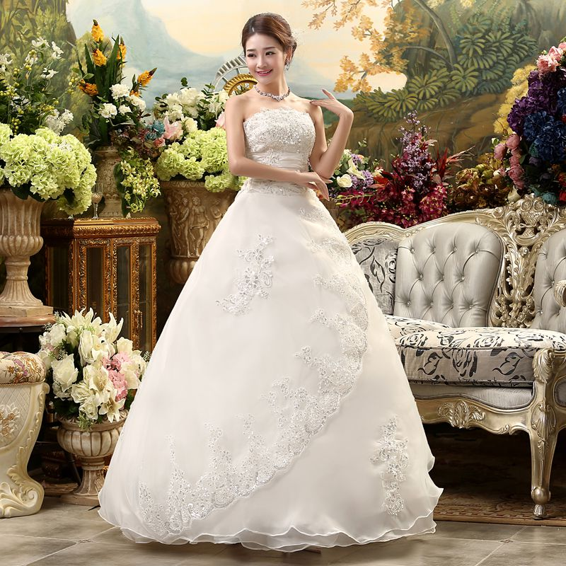 Luxury Wedding Dress Bride  Ball Gowns Plus Embroidery Size Satin Wedding Dress Bridal Lace Up Dresses