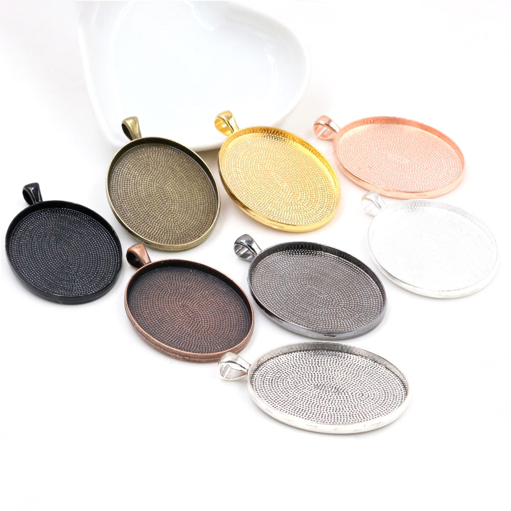 New Fashion 5pcs 30x40mm Inner Size 8 Colors Plated Simple Style Cabochon Base Setting Charms Pendant (