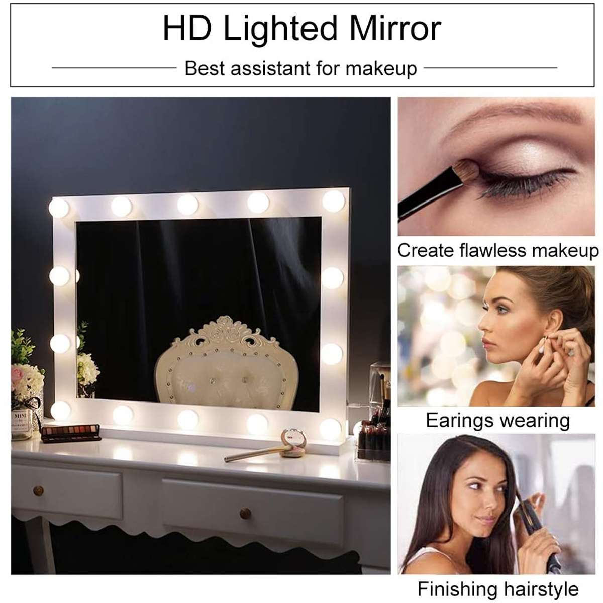 Hollywood Makeup Mirror Vanity Lighted Cosmetic Mirror with 14 LEDs Lights For Tabletop Bathroom Beauty Mirror Dressing Room 4