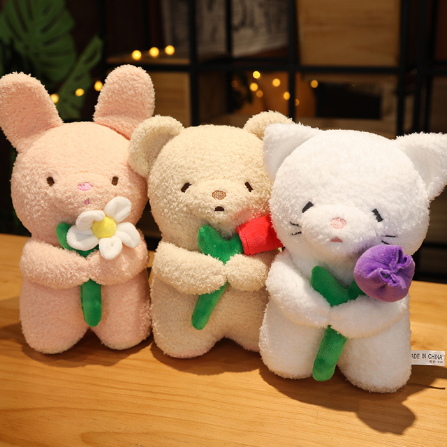 5/25/40cm Holding Rose Flower Animal Doll Cute Standing Bunny Bear Cat Plushies Say Love Valentines' Day Girlfriend Gift 1