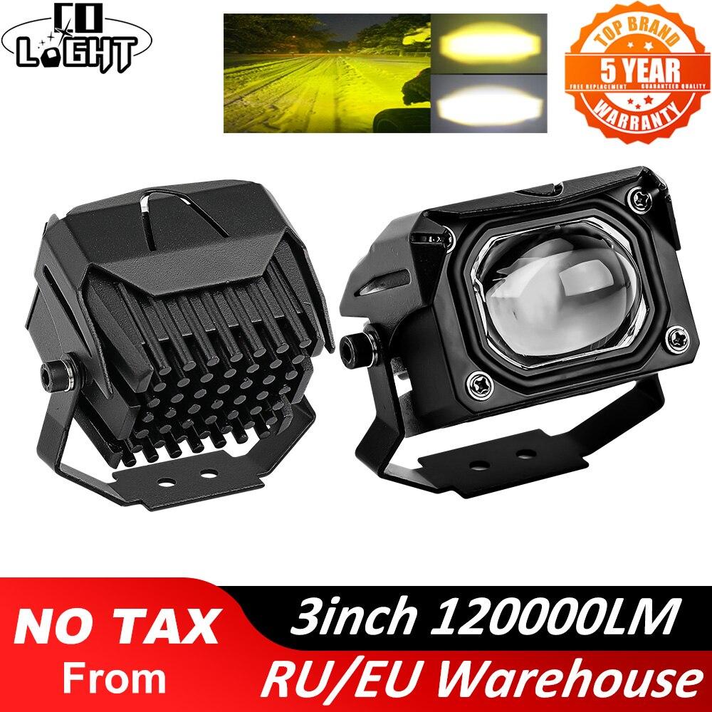 """CO lumière 3 """"barre de lumière dinondation LED de tache hors route 3000K 6000K DRL 12V 24V LED barre lumineuse de travail pour camion SUV 4WD 4x4 bateau ATV tracteur"""