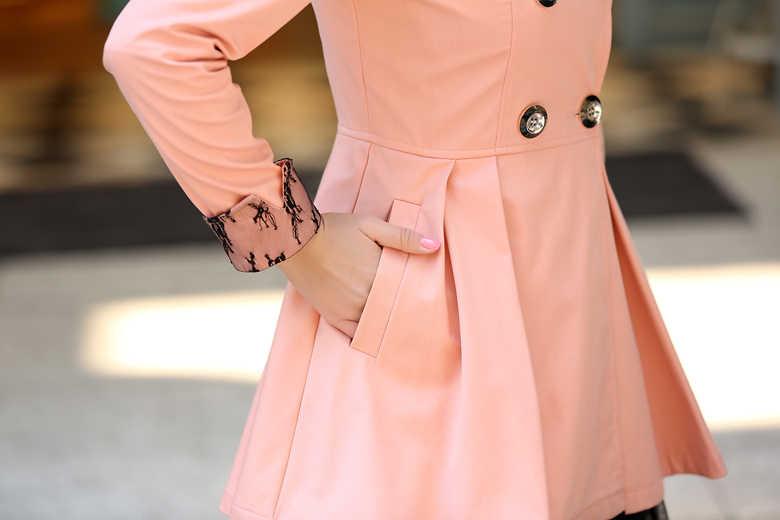 여성용 윈드 브레이커 플러스 사이즈 트렌치 여성 코트 핑크 블랙 롱 코트 여성 의류 레이스 오버 코트 Abrigo Mujer KJ331