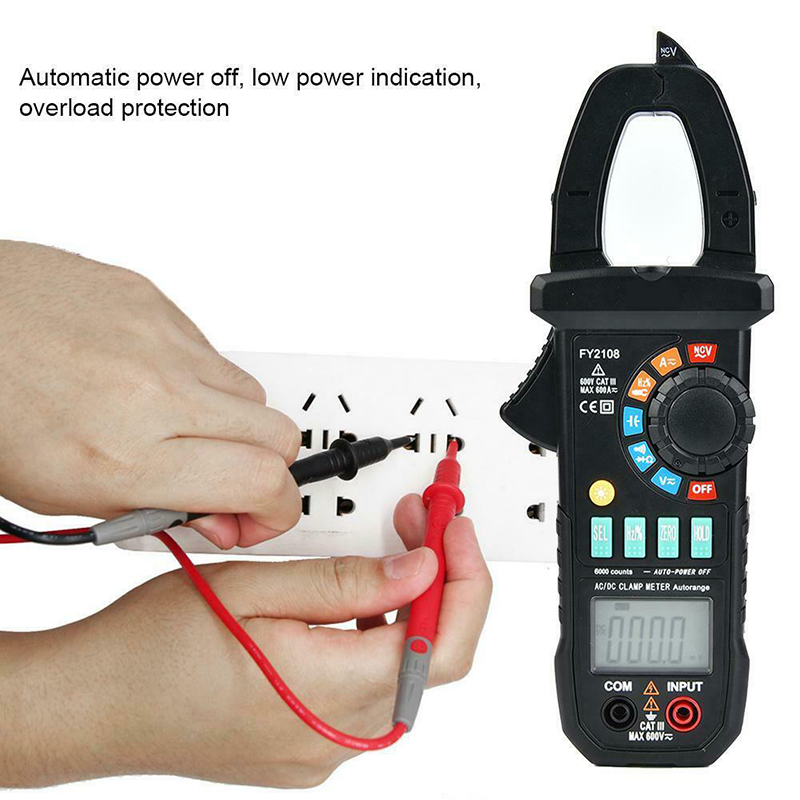 FY2108 Digital Clamp Meter Multimeter Voltmeter Ammeter 600A AC/DC Ohm Voltage Current Testers Meter PUO88