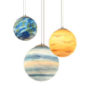 Image 1 - Galaxy Moon hanging Lamp Planetary globe pendant Lights Christmas Children room Decorations Light lamps saturn jupiter earth sun