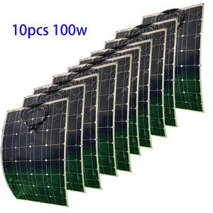 15 pces 100 w painel solar flexível mono painel de célula solar 12 v 24 volt 1000w carregador de bateria solar