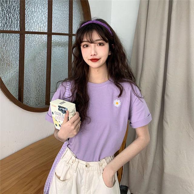 Daisy Embroidery Short Sleeve T-shirt for Women Korean Sweet Girls Flower Loose Leisure Tops Ins Fashion Simple Joker Clothings 4