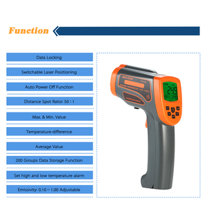 Image 4 - AT1650   18 1650C 20:1 Digital Thermostat Infrared Thermometer LCD Pyrometer+Backligt C/ F Temperature meter Data Storage