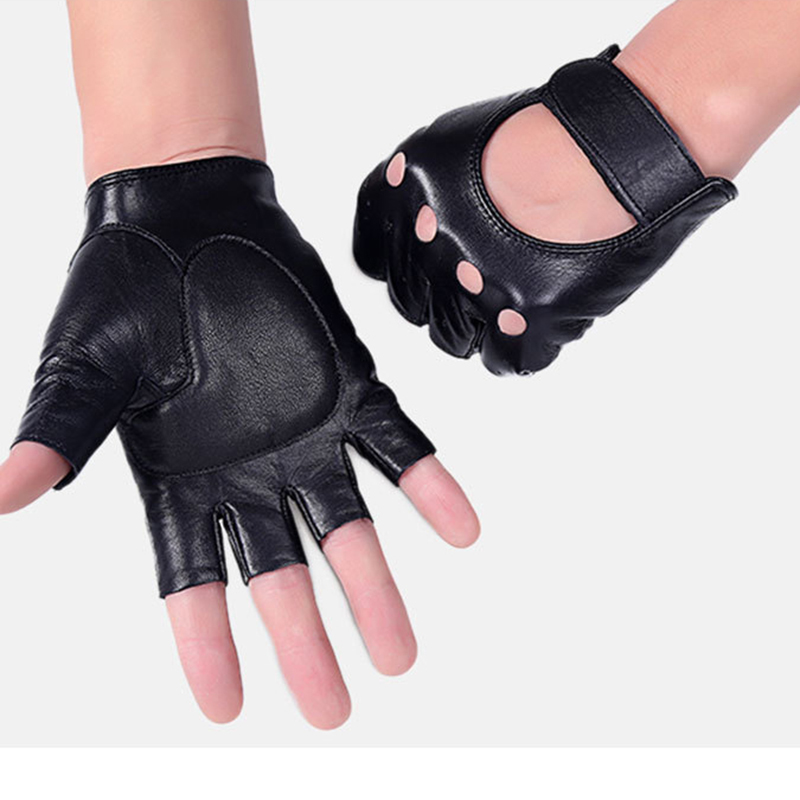 Men Half Finger Leather Motorcycle Driving Gloves Fingerless Sheepskin Leather Gloves For Outdoor Tactical Sports Fishing AGB661