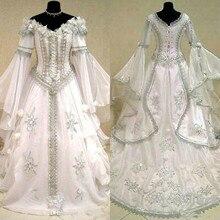 Средневековые Свадебные платья ведьма кельтский Tudor костюм эпохи Возрождения викторианская готика холлоуин на шнуровке корсет свадебное платье плюс размер