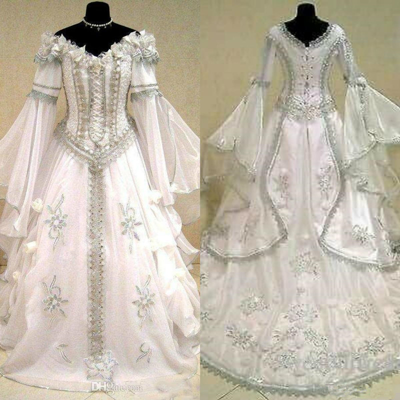 Medieval Wedding Dresses Witch Celtic Tudor Renaissance Costume Victorian Gothic Holloween Lace-up Corset Wedding Gown Plus Size