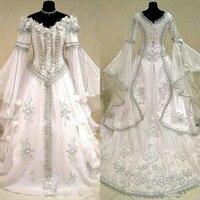 Medieval Wedding Dresses Witch Celtic Tudor Renaissance Costume Victorian Gothic Holloween Lace up Corset Wedding Gown Plus Size