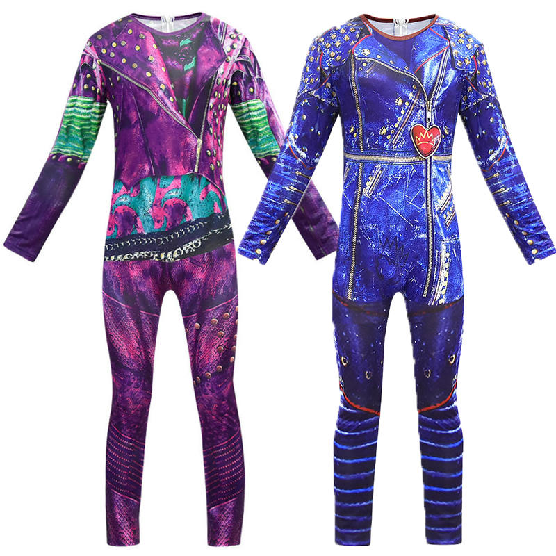Evie Mal Cosplay Jumpsuit Halloween Costume Movie Descendants 3 Costumes For Kids Bodysuits Halloween Fantasia Costumes C48687CH