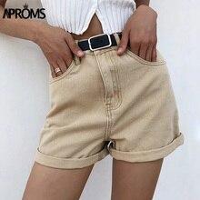 Shorts Summer Aproms Bottoms Khaki Vintage High-Waist Women Zipper-Pockets Sexy Street-Fashion