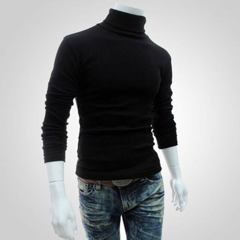 Men Casual Style Sweaters Solid Pattern Type Full Sleeve Length Pullovers Item Type Turtleneck Collar Thick No Hooded