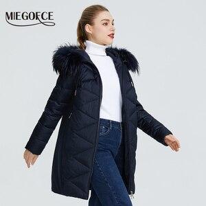 Image 3 - MIEGOFCE 2019 Новая зимняя женская коллекция курток куртка женская зимняя необычайный дизайн имеется капюшон с мехом длина до колена теплая женская куртка биопух сохраняет тепло и придает легкость