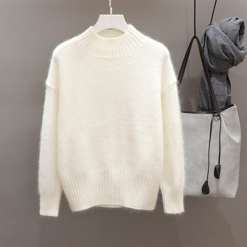 Women Kintted Pullover Autumn Winter Thicken Warn Kint Sweater Femle Solid Color Slim Casual Sweaters Jumper