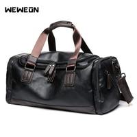 Men's PU Leather Sports Bag Crossbody Gym Training Bag Fitness Men's Retro Sport Bags Duffel Tote Large Travel Shoulder Handbag
