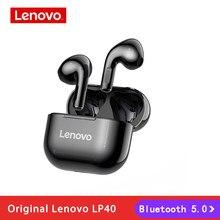 Nowy Lenovo LP40 TWS bezprzewodowe słuchawki Bluetooth 5.0 podwójna redukcja szumów Stereo Bass sterowanie dotykowe długi czas czuwania 300mAH