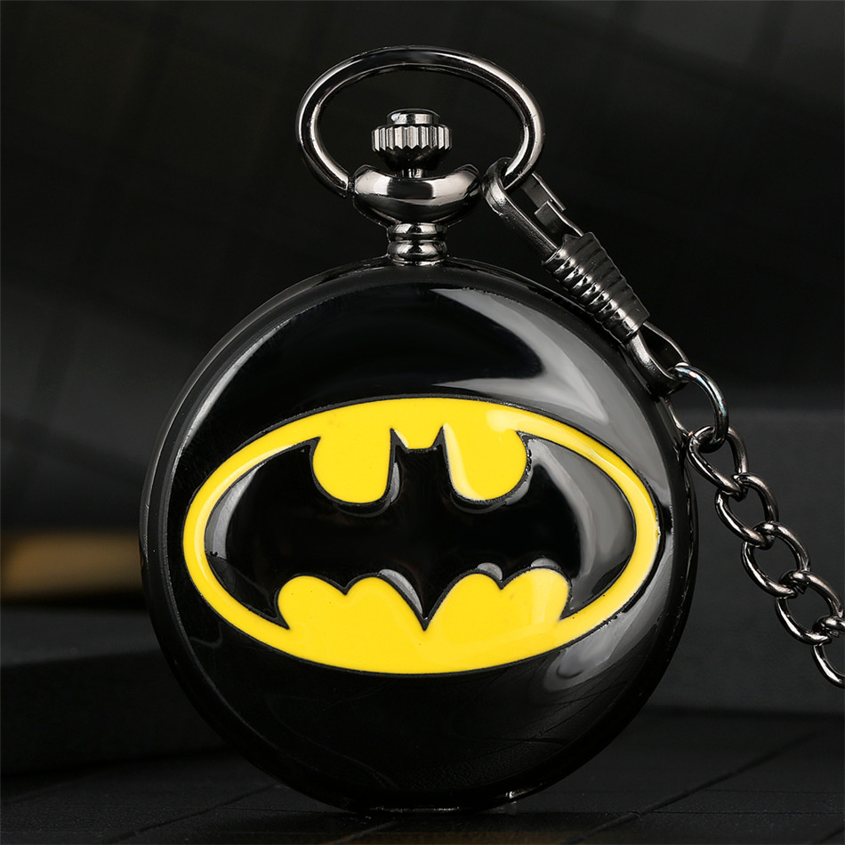 Batman Theme Quartz Theme Quartz Pocket Watch Cool Boys Xmas Gifts Retro Punk Pocket Clock Chain Hot Sale Pendant Watches