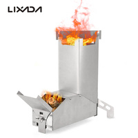 Lixada Foldable Rocket Stove Windproof Stainless Steel Camping Stove Picnic Wood Burning Stoves BBQ Cooking Furnace Wood Stove|Outdoor Stoves|Sports & Entertainment -