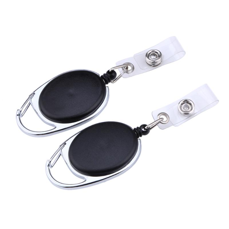 2pcs Retractable Pull Key Ring Chain Reel ID Lanyard Name Tag Card Holder Badge Reel Carabiner Style Retractable Holder Black