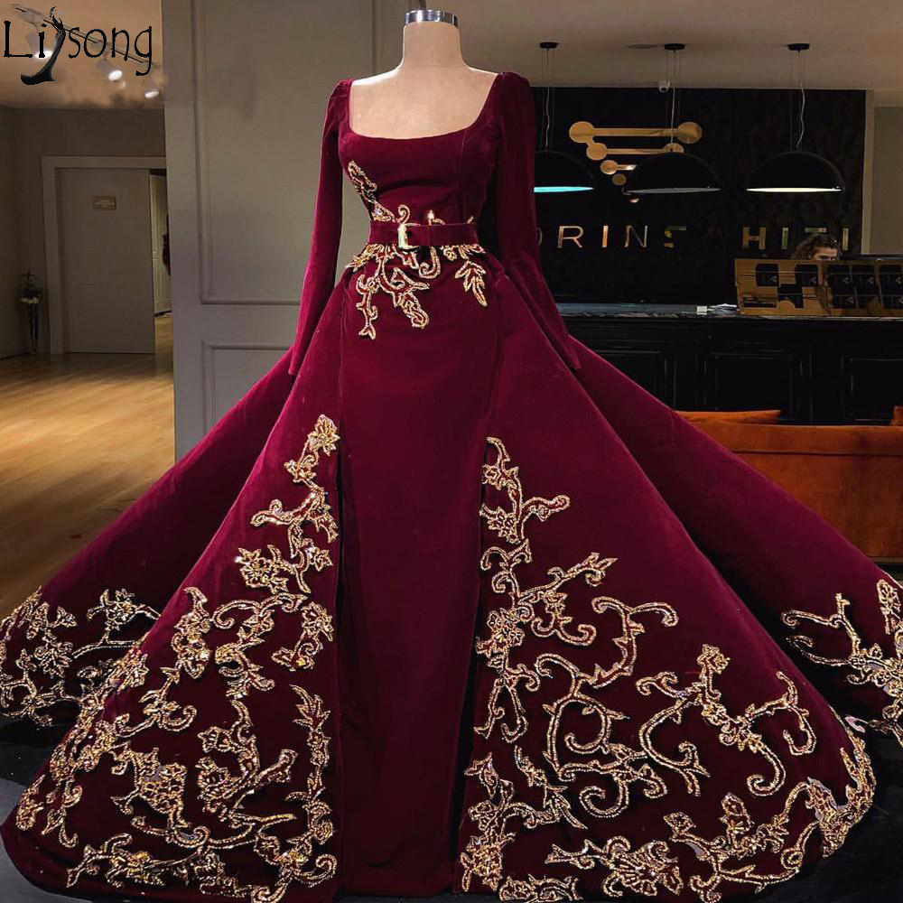 Burgundy Long Sleeves Muslim Evening Dresses With Detachable Skirt Prom Dress Gold Applique Saudi Arabic Evening Formal Gowns