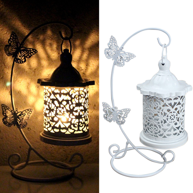 Restaurant Wedding Party Hollowed Out Wrought Iron Candle Holder With Hook Home Decoration Clothing Store Living Room Butterfly 1