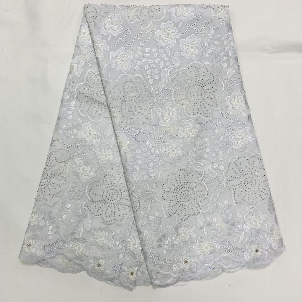 White African Dry Lace Fabric 2020 High Quality Lace Tulle Pure Cotton Swiss Voile Lace Fabrics With Stones Nigerian 5 Yards