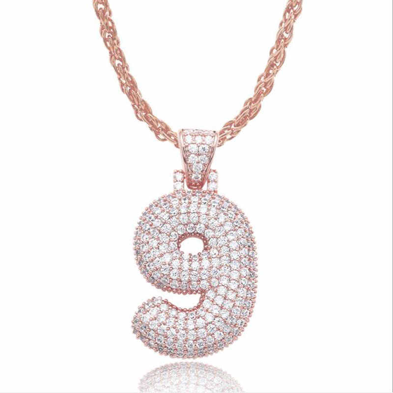 Ataullah 0-9 Bubble Numbers naszyjniki Pendat kubański łańcuch złoty srebrny Link Hip Hop biżuteria Cubic naszyjnik cyrkoniowy mężczyźni kobiety NW108