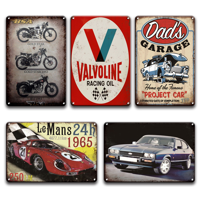 retro outdoor signs Valvoline racing oil tin metal sign