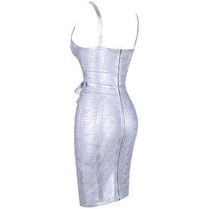 Image 5 - Ocstrade 새로운 2019 가을 겨울 여성 넥타이 허리 메탈릭 섹시한 붕대 드레스 실버 붕대 드레스 Bodycon 클럽 파티 드레스