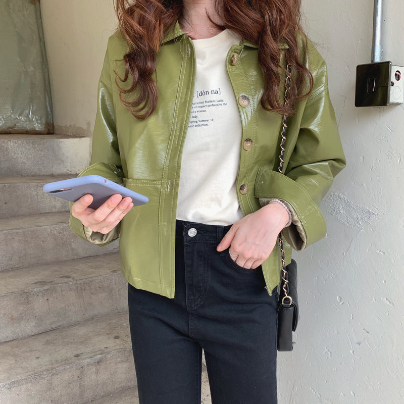 Hzirip Hot 2019 Motorcycle PU   Leather   Jackets Chic Women High Waist All-Match Cool Solid Female Coat Fashion Women Slim Outwear