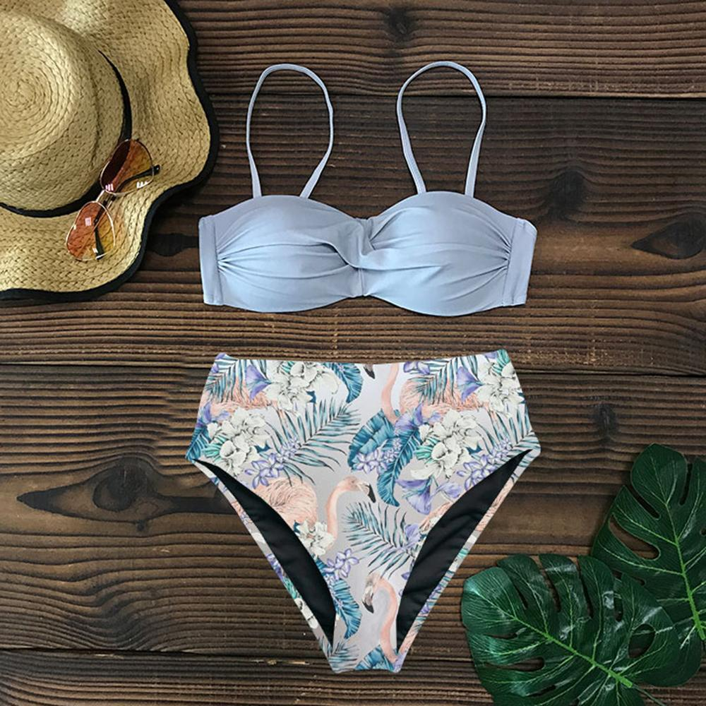 Sexy 2019 Bikini Swimsuit Women Swimwear Push Up Bikinis Set Leaf Print Female High Waist Swimming Suits for Bathing Suit