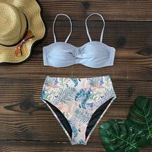 Push Up Leaf Print High Waist Swimming Suits