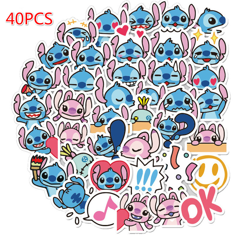 40Pcs Cartoon Stitch Stickers Graffiti Punk Waterproof Decal Laptop Motorcycle Luggage Snowboard Car Sticker