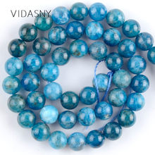Natural Gem Stone Blue Apatite Round Beads For Jewelry