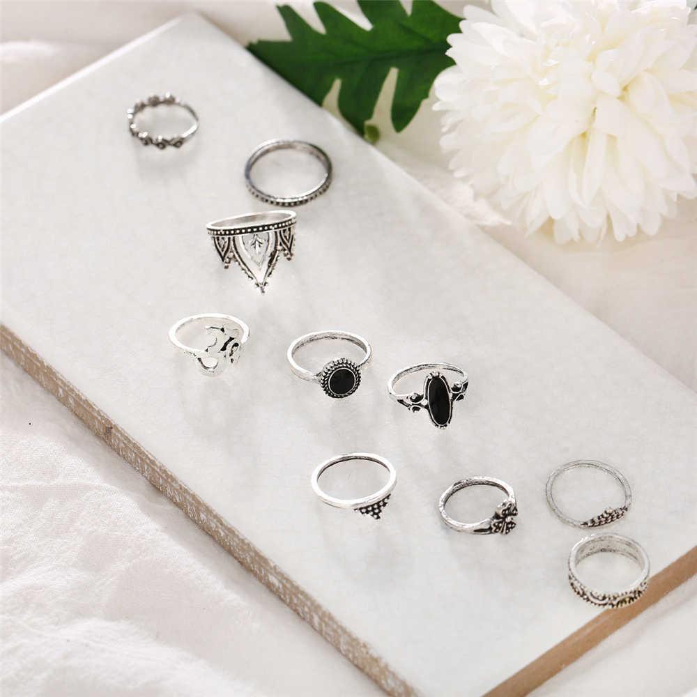 Женский винтажный набор колец в форме короны с цветком и луной, регулируемое серебряное кольцо в стиле бохо, подарок на день Святого Валентина