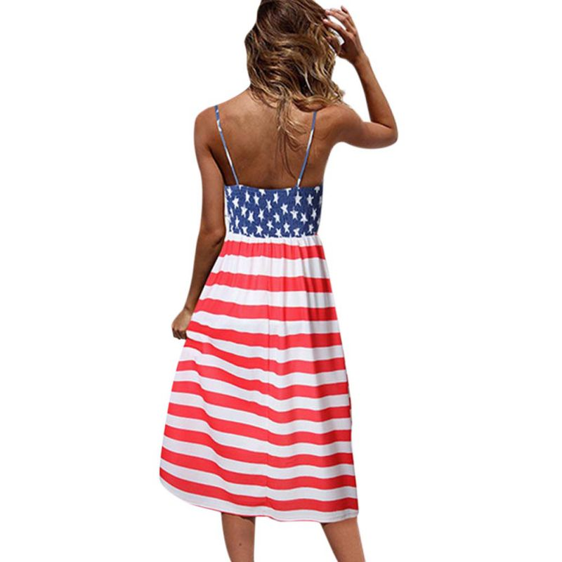 <font><b>Casual</b></font> <font><b>Striped</b></font> <font><b>Beach</b></font> <font><b>Dress</b></font> <font><b>Women</b></font> <font><b>Sexy</b></font> <font><b>Sleeveless</b></font> Spaghetti Strap Midi A Line Summer Party <font><b>Dress</b></font> Sundress Vestidos image