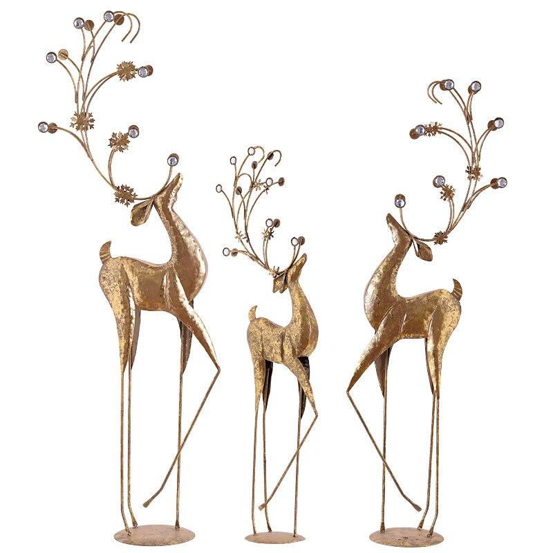 Christmas Retro Iron Deer Art Sculpture Animal Elk Statue Iron Craft Christmas Show Window Decorations For Home R3456