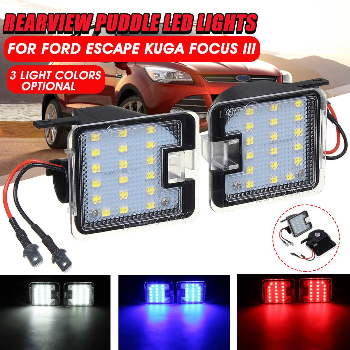 Pair Car Rearview LED Puddle Lights Under Mirror LED Courtesy Lamp For Ford/C-max/Focus/Kuga/Escape/Mondeo