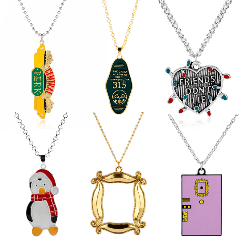 TV Friends Jewelry Necklace Penguin Hugsy/Central Perk Coffee Time Logo/Photo Frame Monica's Double Side Door Pendants&Necklaces image