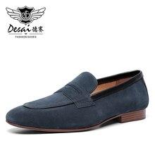 Desai 男性のカジュアルナチュラ本革ビジネス手作りドレスローファー男性の靴メンズ通気性の高品質 2020