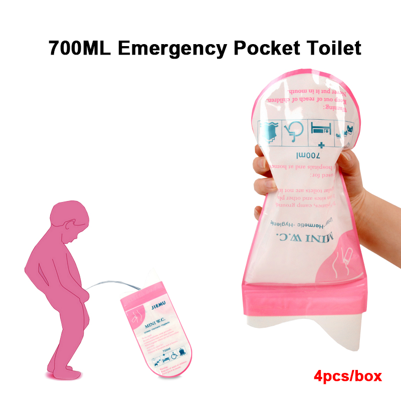 4 Pcs/Box 700ml Unisex Portable Emergency Urine Bag Mobile Mini Toilet For Travel Camping Car Disposable Urinal Storage Bag
